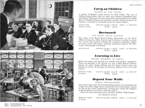 From the British Council 1942-43 film catalogue